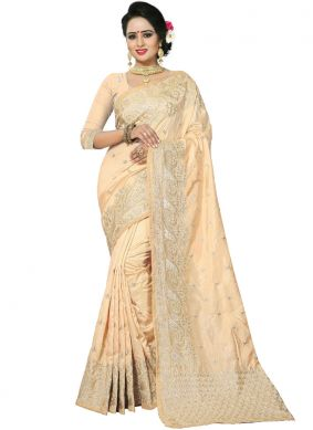 Precious Resham Cream Art Silk Traditional Designer Saree