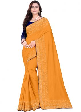 Preferable Art Silk Orange Designer Saree