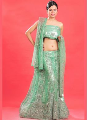 Preferable Sea Green Patch Border Faux Georgette Lehenga Choli