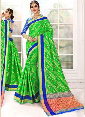 Preferable Weaving Green Designer Traditional Saree