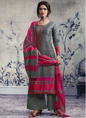 Prepossessing Grey Designer Palazzo Suit