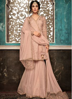 Prepossessing Net Peach Designer Salwar Suit