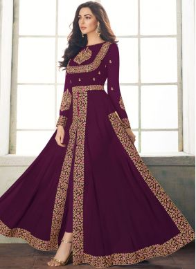 Prepossessing Purple Georgette Designer Salwar Suit