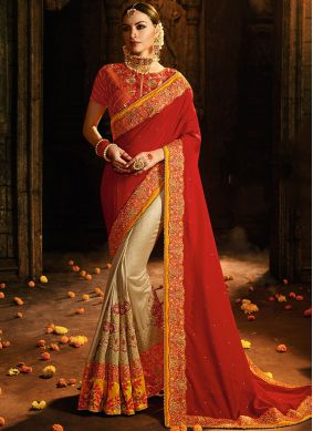 Prepossessing Red Designer Half N Half Saree