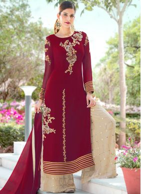 Pretty Faux Georgette Embroidered Palazzo Salwar Kameez