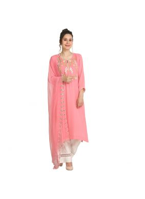 Pretty Machine Embroidery  Pink Viscose Party Wear Kurti