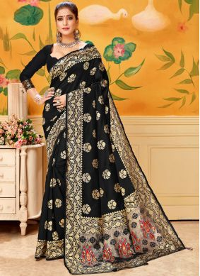 Pretty Silk Black Trendy Saree