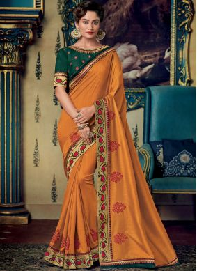 Prime Embroidered Orange Designer Saree