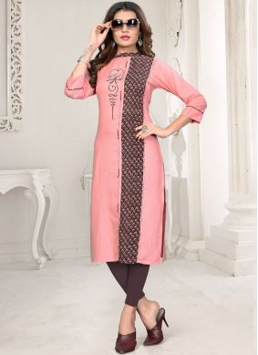 Princely Embroidered Rayon Party Wear Kurti