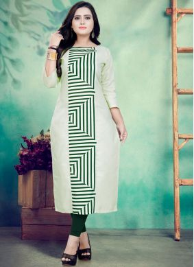Princely Green Festival Party Wear Kurti