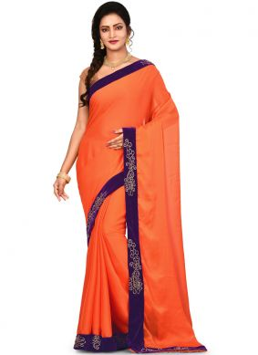 Princely Orange Art Silk saree