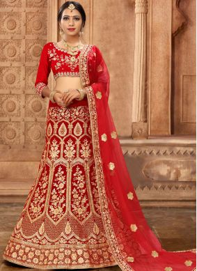 Princely Red Resham Satin Silk Lehenga Choli