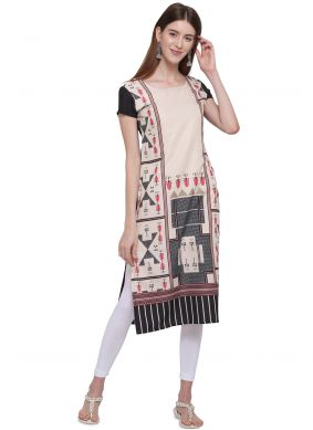 Print Black and Cream Casual Kurti