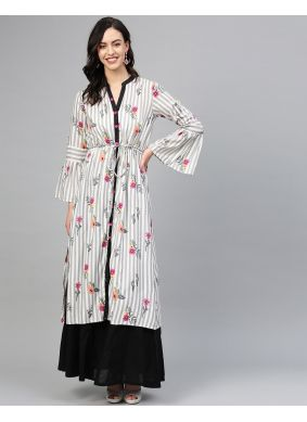 Print Black and White Designer Kurti