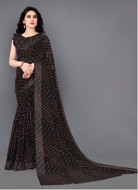 Print Black Cotton Designer Saree