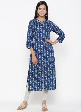 Print Blue Rayon Party Wear Kurti