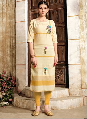 Print Casual Cream Color Kurti