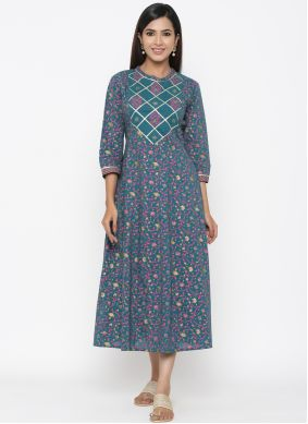 Multi Colour Print Casual Casual Kurti