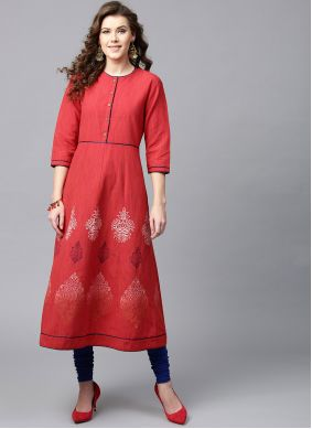 Red Cotton Print Casual Kurti