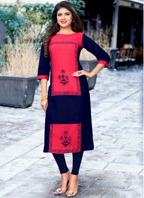 Print Cotton Party Wear Kurti in Navy Blue and Pink