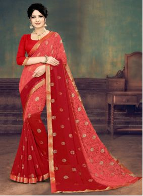 Print Faux Georgette Shaded Saree in Pink and Red