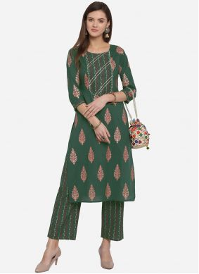 Green Print Festival Party Wear Kurti