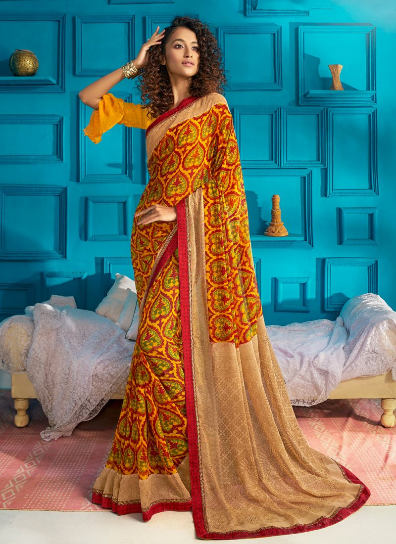 Print Georgette Traditional Designer Saree in Yellow