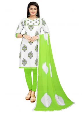 Print Green and Off White Churidar Suit