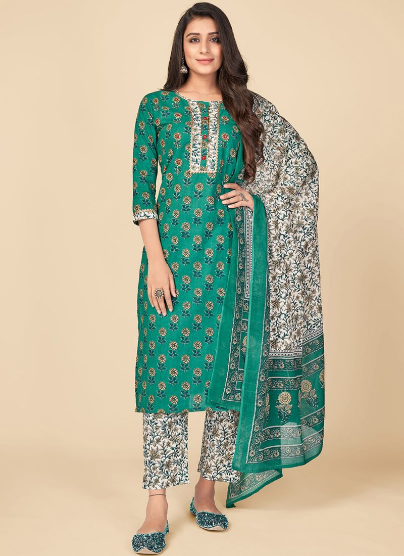 Green Print Party Pant Style Suit