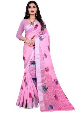 Pink Linen Printed Saree For Festival