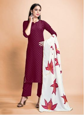 Print Rayon Wine Pant Style Suit