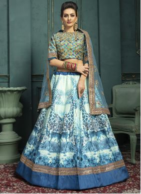 Print Silk Off White Trendy Lehenga Choli