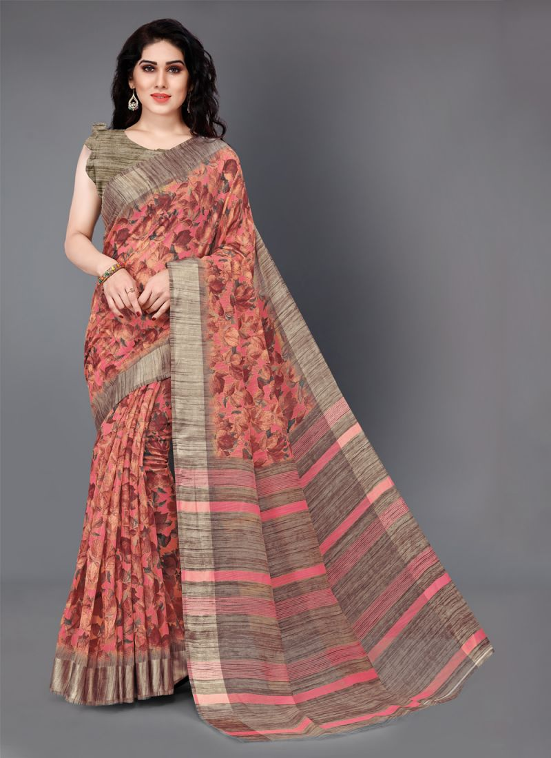 Printed Beige and Peach Cotton Casual Saree