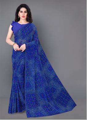Printed Blue Trendy Saree