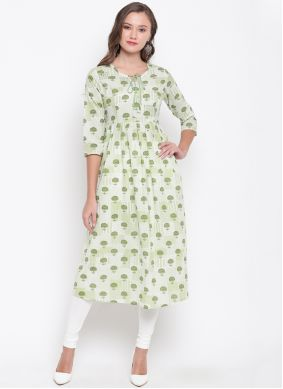 Cream Printed Casual Kurti