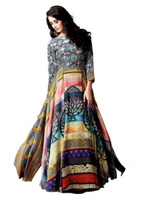 Printed Chanderi Multi Colour Party Wear Kurti