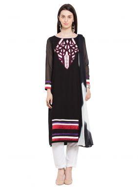 Printed Cotton Black Readymade Salwar Kameez