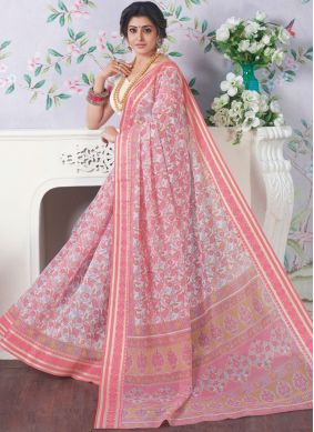 Printed Cotton Casual Saree in Rose Pink