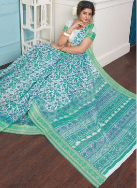 Printed Cotton Casual Saree in Turquoise