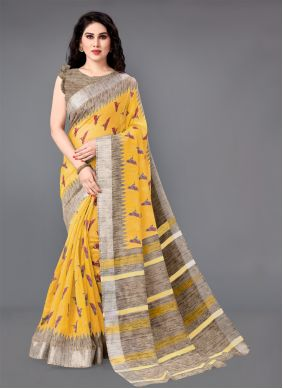 Printed Cotton Classic Saree in Yellow
