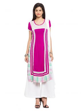 Printed Cotton Off White Readymade Salwar Kameez
