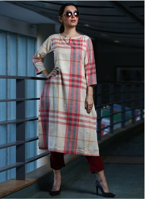 Printed Cotton Party Wear Kurti in Cream