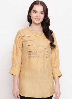 Printed Cotton Party Wear Kurti in Gold