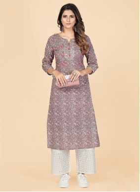 Printed Cotton Party Wear Kurti in Grey