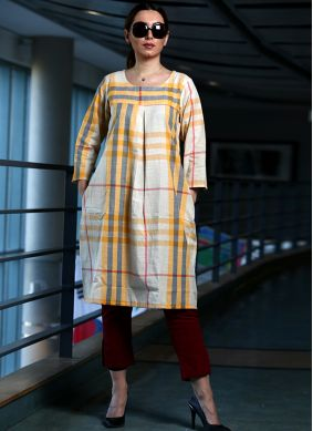 Printed Cotton Party Wear Kurti in White