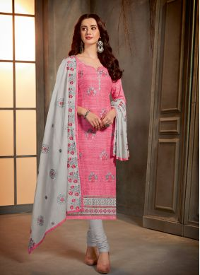 Printed Cotton Pink Salwar Kameez
