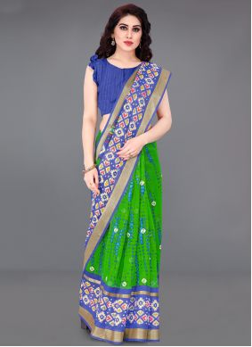 Printed Cotton Printed Saree in Blue and Green