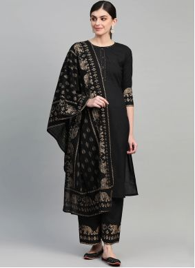 Printed Cotton Readymade Suit in Black