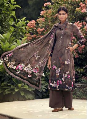 Printed Faux Crepe Palazzo Suit in Brown