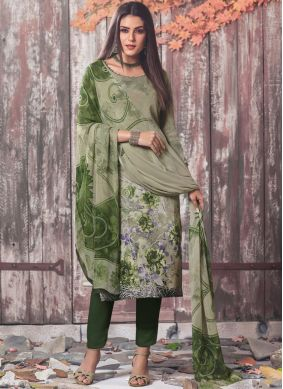 Printed Faux Crepe Pant Style Suit in Sea Green